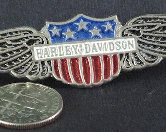 Harley Davidson Shield and Wings Pin  SILVER TONE