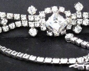 Necklace - Choker - Clear Rhinestones with Large Princess Cut Center Accent