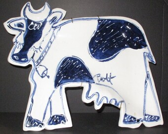 Plaque - Wall Decor - Stoneware Cow Platter or  Wall Plaque - comes with wall hanger