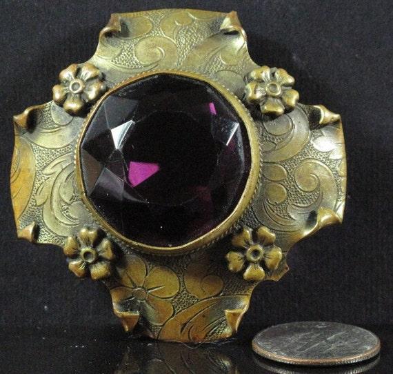 Vintage Detailed Brooch, Large Round Purple Bezel Set Rhinestone, Gold Tone Metal Details