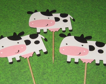 Country Farm / Barnyard Cupcake Toppers - Cow - Set of 4