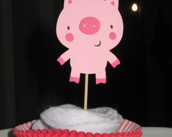 Country Farm / Barnyard Cupcake Toppers - Pig - Set of 4