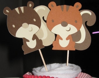 Woodland Animal / Woodland Creature - Squirrel Cupcake Toppers - Set of 4