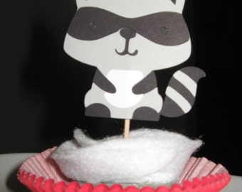 Woodland Animal / Woodland Creature - Raccoon Cupcake Toppers - Set of 4