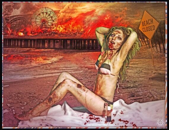Zombie Girl Poster - Beach Zombie -