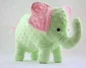 Stuffed Elephant Toy - Pink and Green Minky Plush Elephant