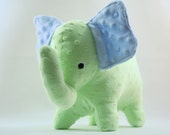 Stuffed Elephant Toy - Blue and Green Minky Plush Elephant
