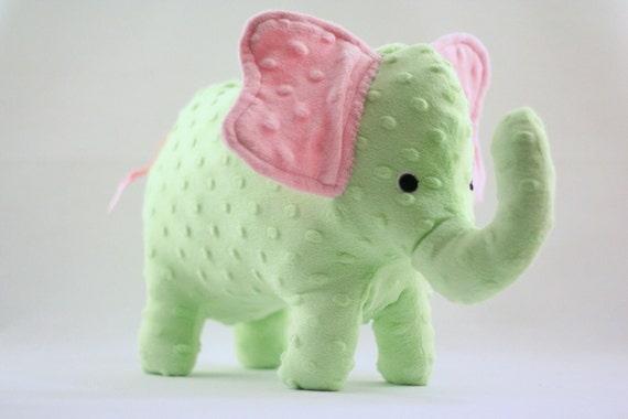 Stuffed Elephant Toy - Pink and Green Minky Plush Elephant