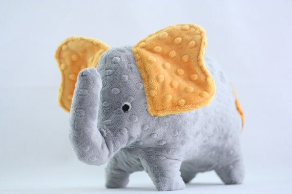 Stuffed Elephant Toy - Gray and Golden Yellow Minky Plush Baby Elephant