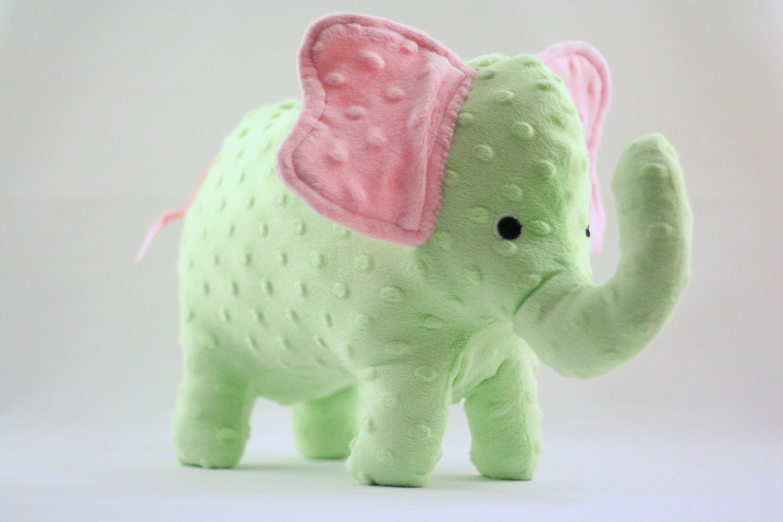 Elephant Stuffed Toy : Stuffed elephant toy pink and green minky plush