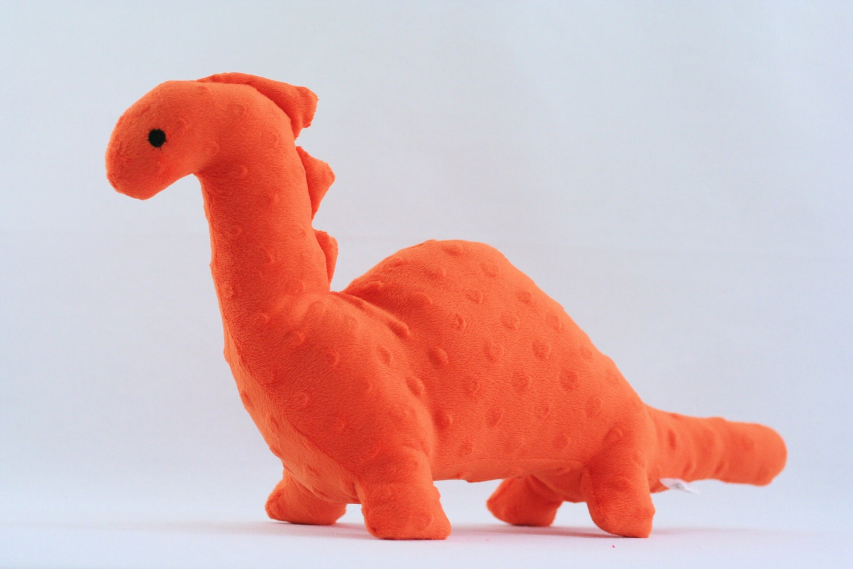 Stuffed Dinosaur Toy Orange Minky Plush By Thewoodenquail