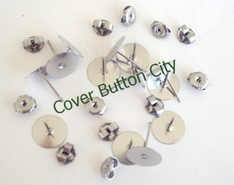 100 Stainless Steel 10mm Earring Posts and Backs - 10.4mm Long