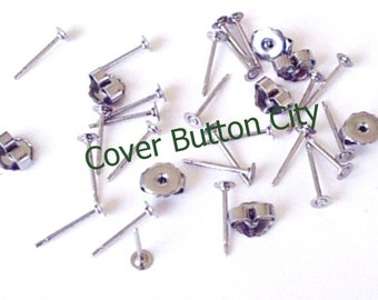 24 Stainless Steel 3mm Earring Posts and Backs - 10.4mm Long