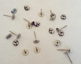 Nickel Free 24 Titanium 6mm Earring Posts and Backs - 11.5mm Long