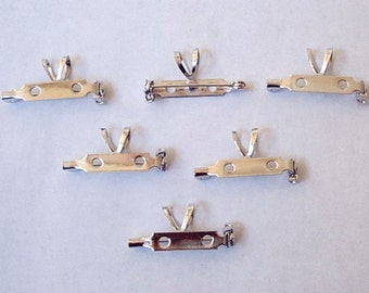 """12 Brooch Pin Backs with Bails - 1"""""""