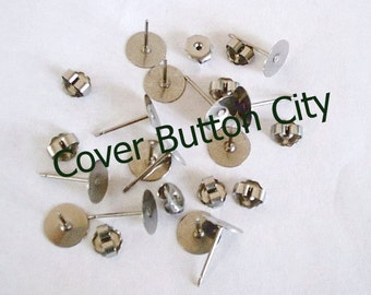 Nickel Free - 24 Titanium 8mm Earring Posts and Backs - 11.5mm Long