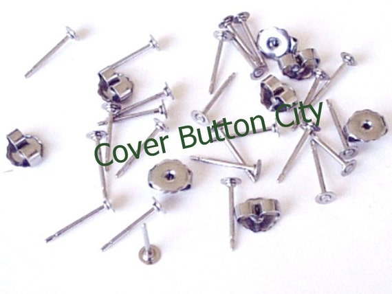 SALE - 24 Stainless Steel 3mm Earring Posts and Backs - 10.4mm Long