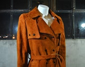1970's burnt orange lamb suede belted trench coat