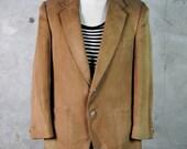 men's vintage jacket, 1970's LANVIN tan suede blazer, small