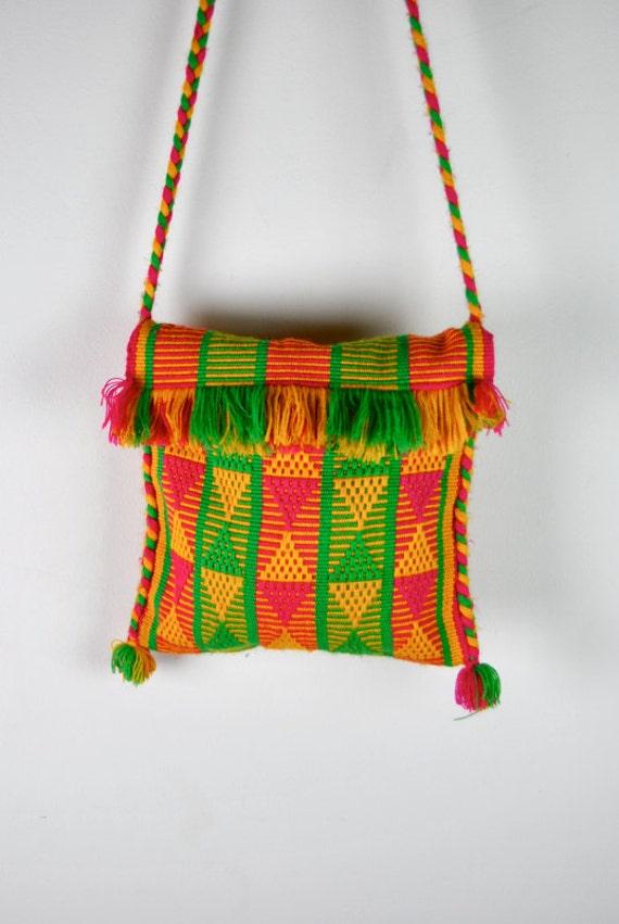 vintage bag, woven geometric Native tribal purse