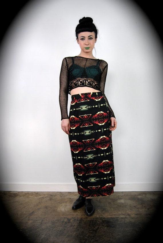 "vintage skirt, 1990's high waisted navajo southwestern print maxi , small 27"""