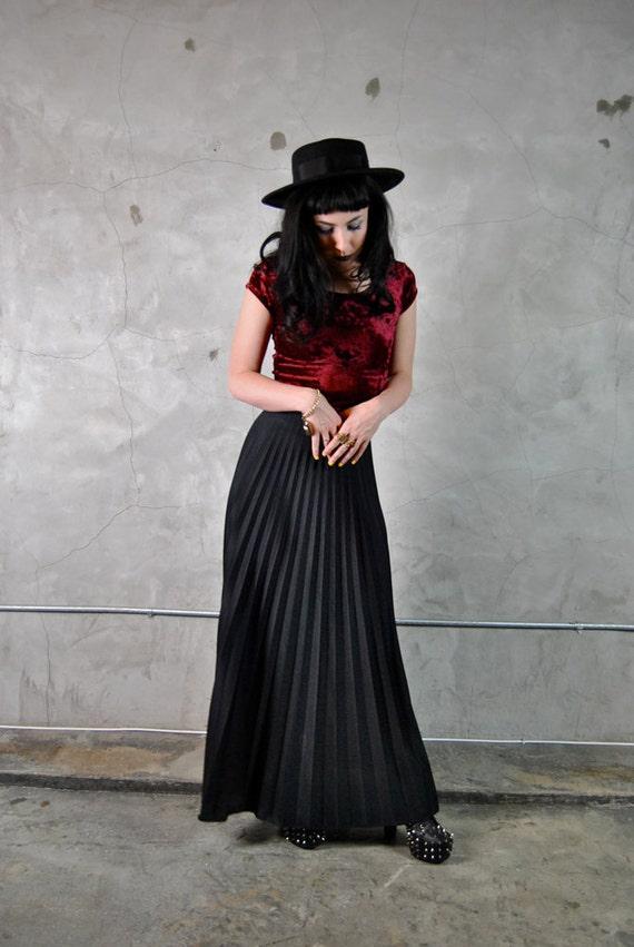 vintage skirt, 1970's long black fully pleated flared maxi skirt, small