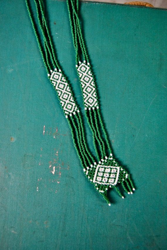 vintage necklace, green and white geometric tribal beaded design w/ fringe