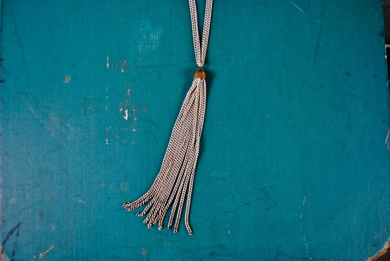 vintage necklace, 1970's long white painted chain link tassel necklace
