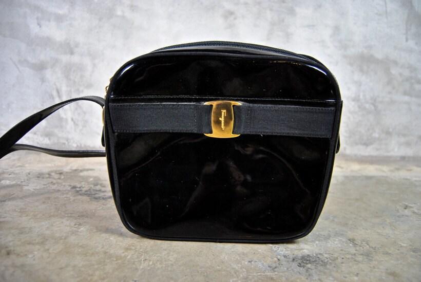 vintage Salvatore FERRAGAMO bag purse black by youngandukraine