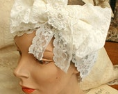lace headband - LUCY- white stretch lace