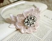 lace headband -ROSANNE- vintage blush