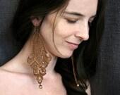 lace earrings -LONGORIA- ombre golden bronze