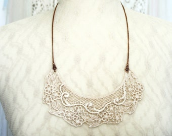 lace necklace -bridal lace necklace - bib necklace -COLETTE- vintage barely blush