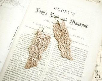 lace earrings -ANYA- vintage ecru