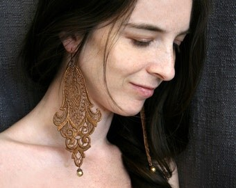 lace earrings -LONGORIA- ombre golden bronze