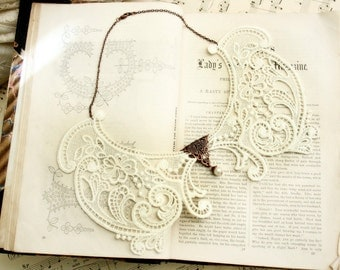 ivory lace necklace collar -CLARABETH- vintage ivory