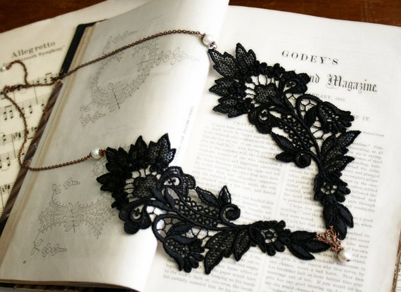 lace collar necklace -ABBEY- (black)