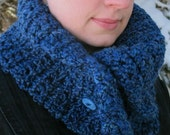 Cozy Cowl Scarflette, Deep Ocean Blue, Crochet Double Thick - Made to Order