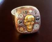 Skull, Screws, and Gears Steampunk Ring