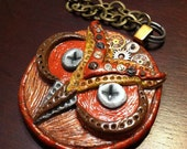 Mechanical Owl Polymer Clay Steampunk Necklace