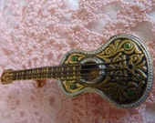 Vintage Made in Spain Darling Spanish Guitar Pin brooch with lovely details