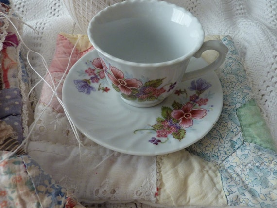 Sweet little Spring time Childrens girls tea cup and saucer set with Sweet peas and other flowers