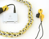 Chain Maille Earphone Cord Cover - iPhone iPad iPod - Kill Bill Edition - Yellow and Silver Aluminum - Skullcandy Earphones Included