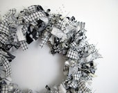 SALE - Black and White Wreath - Shades of Gray