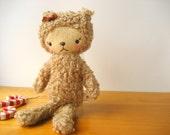 Kawaii Bear Stocking Stuffer Plushie Taupe Brown Curly Woolly Bear Mini JESSIE