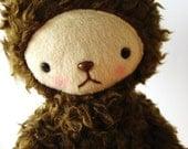 Kawaii Teddy Bear Plushie Chocolate Brown Curly Fur Mini ELLIOT