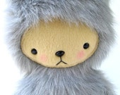 Kawaii Teddy Bear Plushie in Long Gray Faux Fur Large WILSON