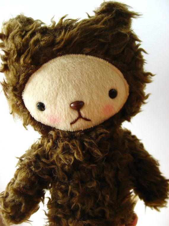 Kawaii Teddy Bear Plushie Chocolate Brown Curly Fur Mini ELLIOT