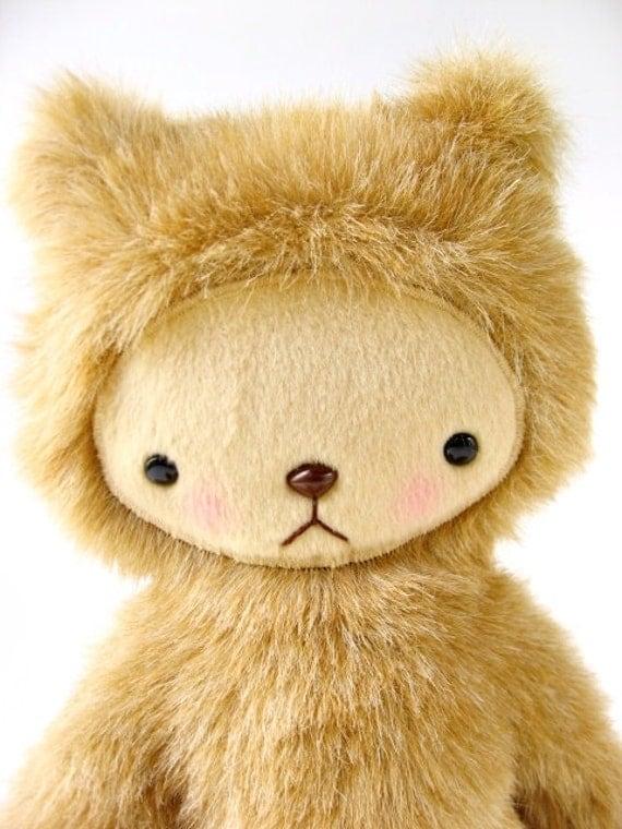 Kawaii Teddy Bear Plushie in Caramel Brown Faux Fur Large CHARLIE