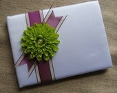 Wedding Guest Book - Lime Green Zinnia On White Satin